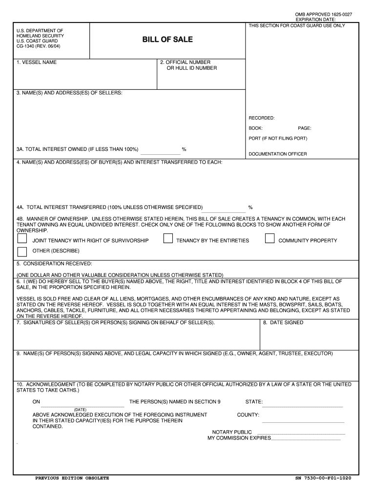 2004 Form Uscg Cg-1340 Fill Online, Printable, Fillable