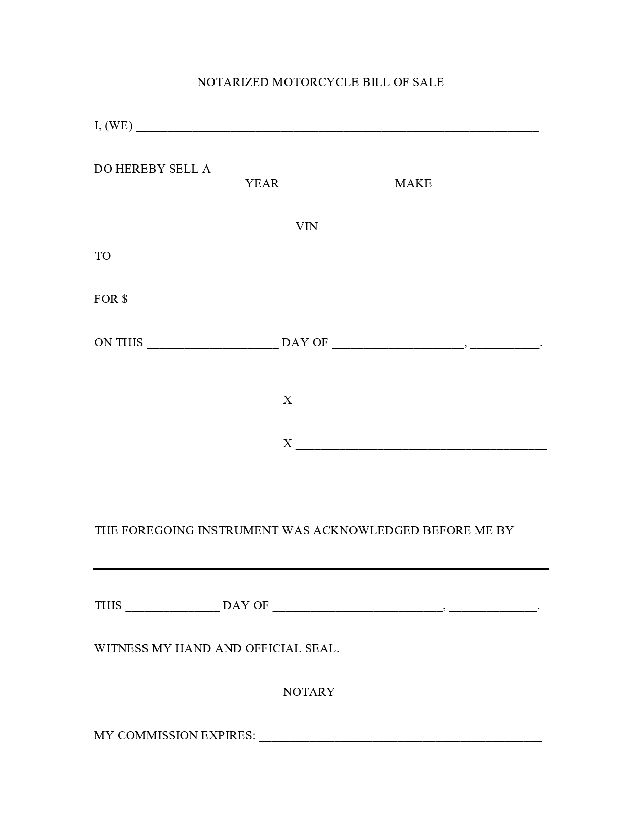 29 Printable Motorcycle Bill Of Sale Forms [Free