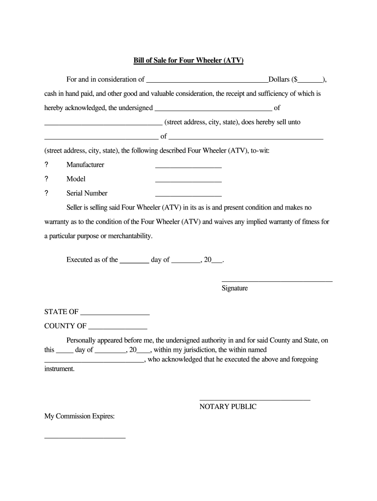4 Wheeler Bill Of Sale - Fill Out And Sign Printable Pdf Template   Signnow