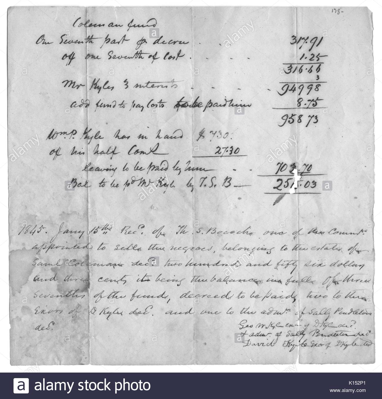 A Hand Written Bill Of Sale For Slaves In Order To Settle An