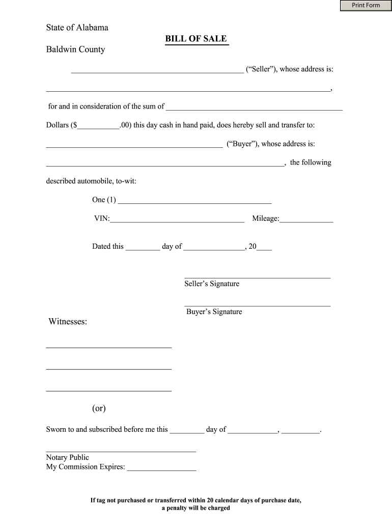 Alabama Bill Of Sale - Fill Out And Sign Printable Pdf Template | Signnow