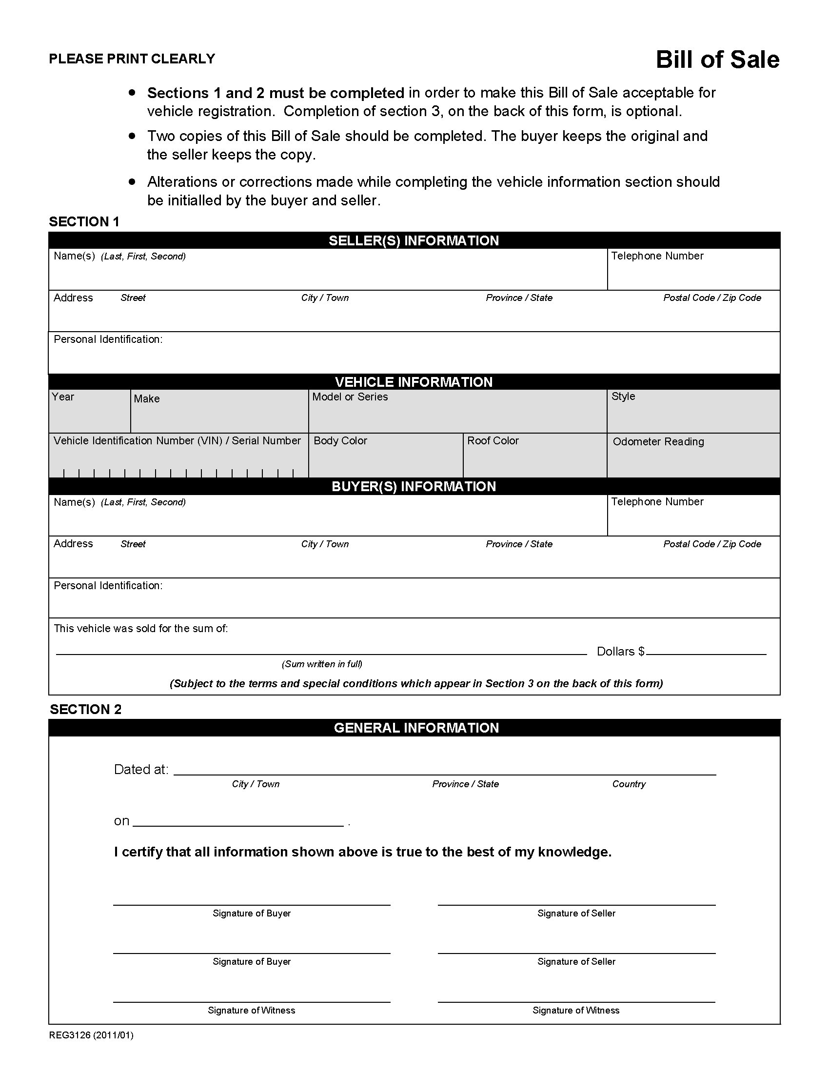 Alberta Bill Of Sale Form For Vehicle | Legal Forms And