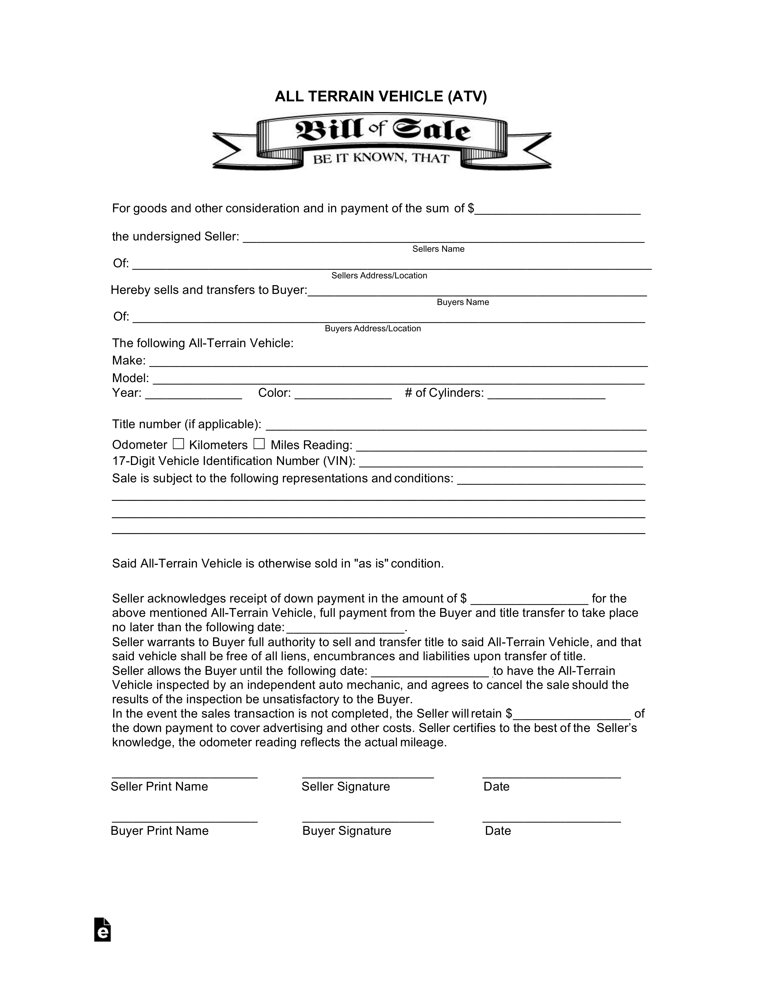 All-Terrain Vehicle (Atv) Bill Of Sale Form   Eforms – Free