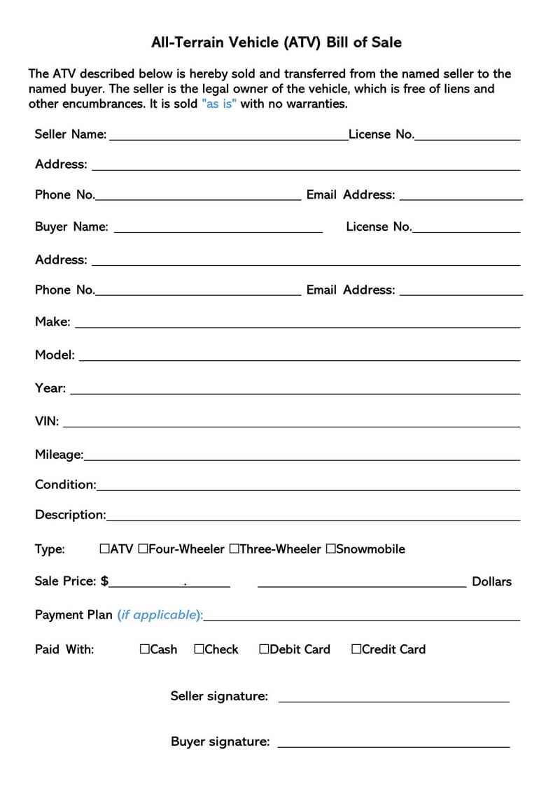 All-Terrain Vehicle (Atv) Bill Of Sale (Free Forms & Templates)