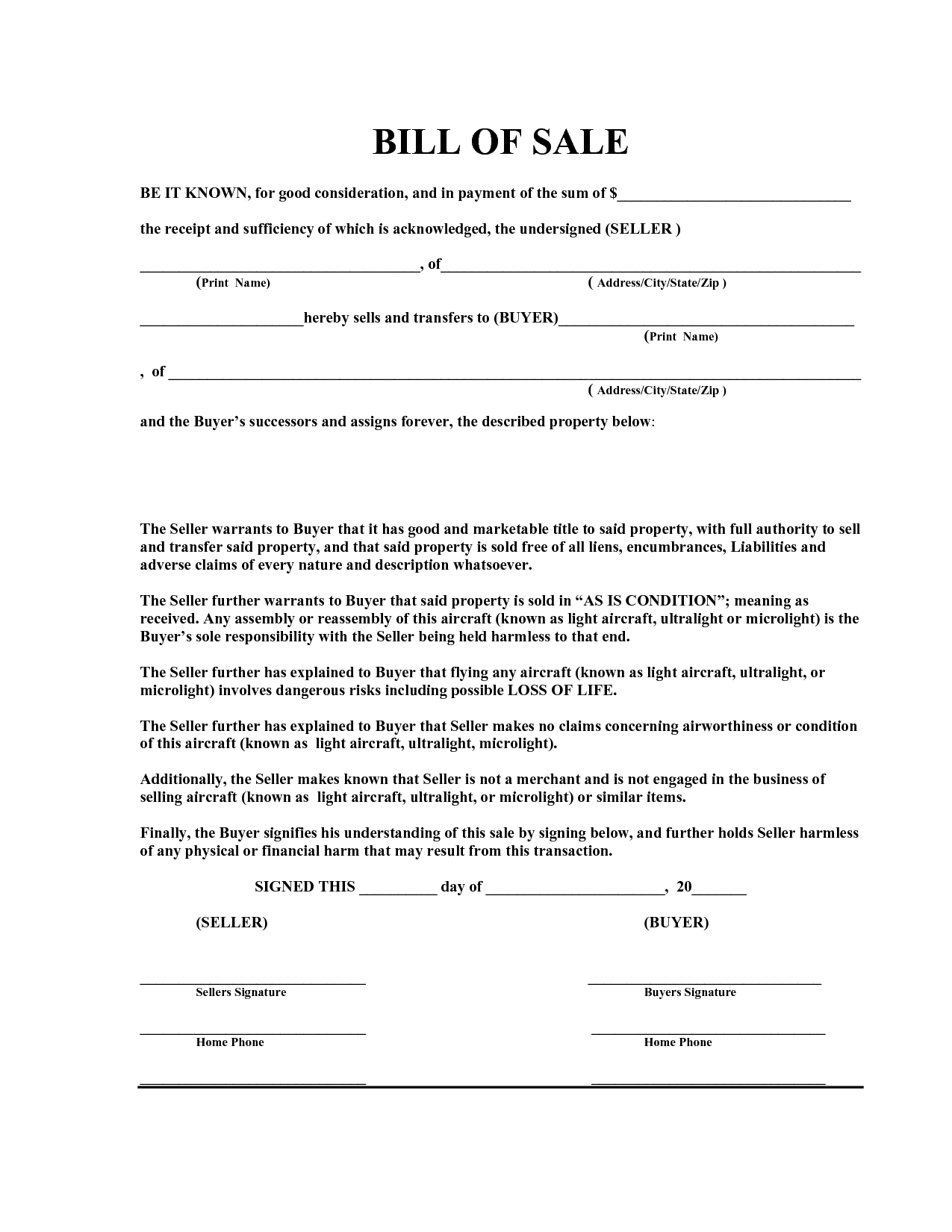 As-Is Bill Of Sale - Free Printable Documents | Bill Of Sale