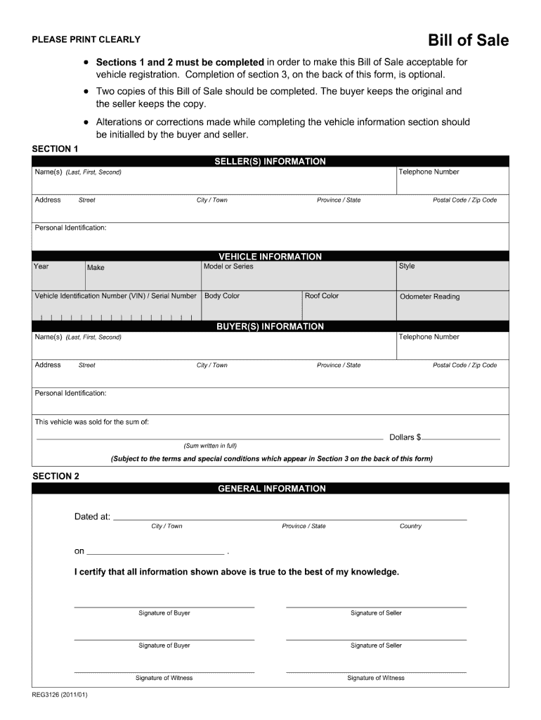 Bill Of Sale Alberta - Fill Out And Sign Printable Pdf Template | Signnow