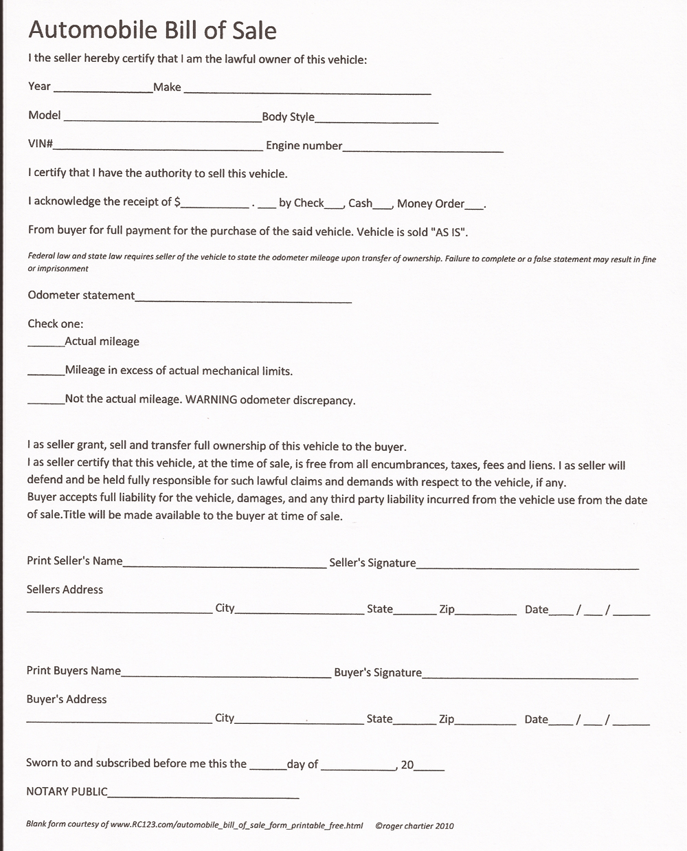 Bill Of Sale For A Car - Free Printable Documents