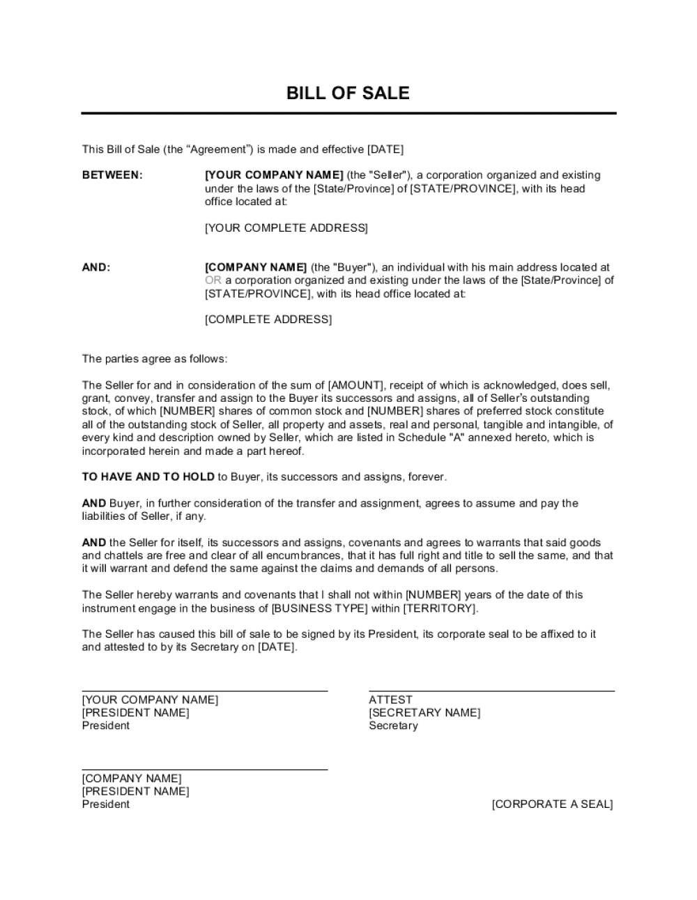 Bill Of Sale For Corporations Template |Business-In-A-Box™