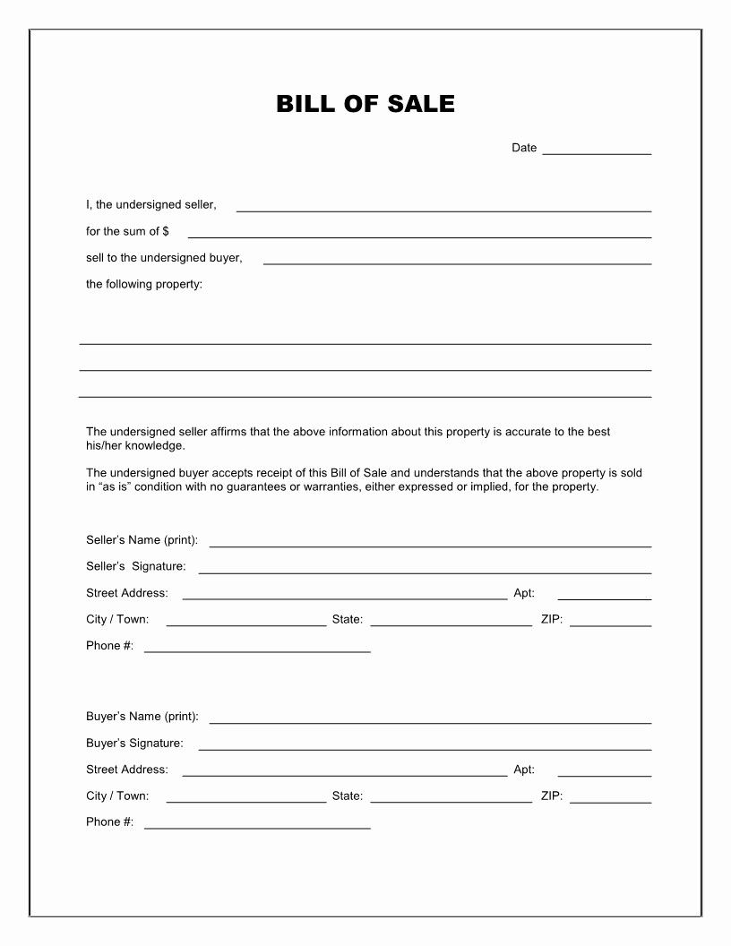 Bill Of Sale Form Download Inspirational Free Printable Bill