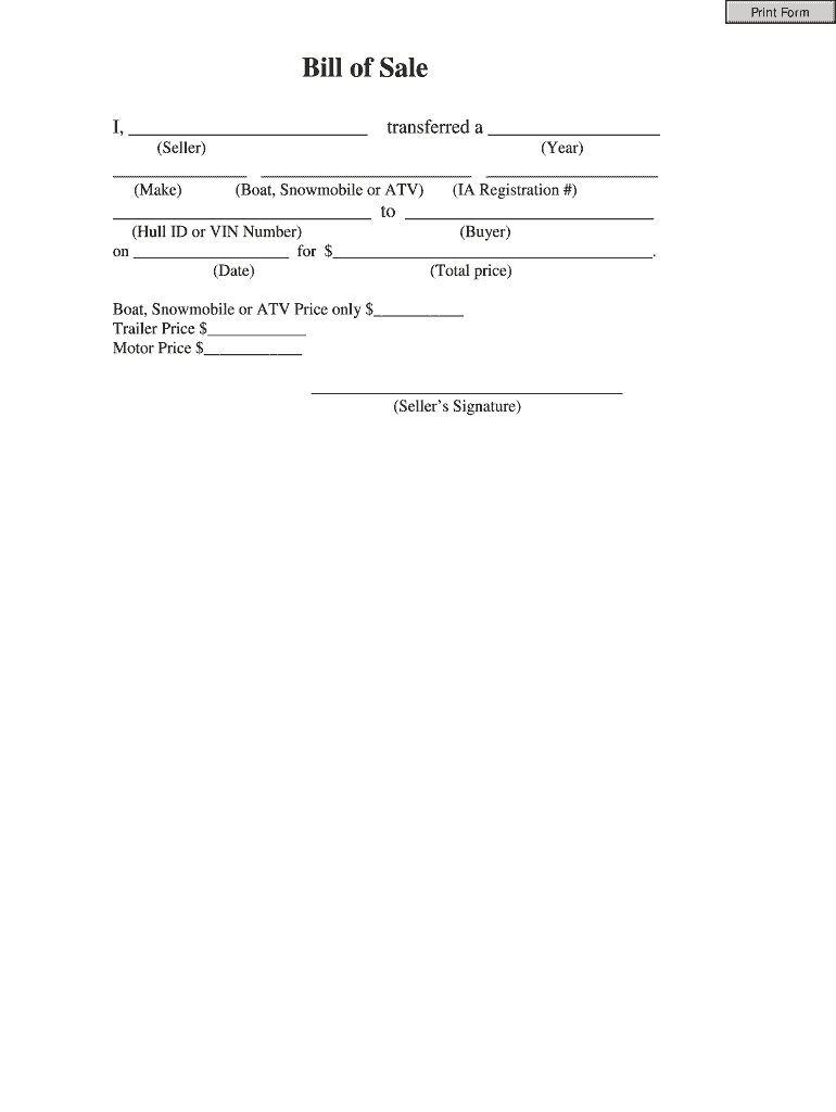 Bill Of Sale Form - Fill Out And Sign Printable Pdf Template   Signnow