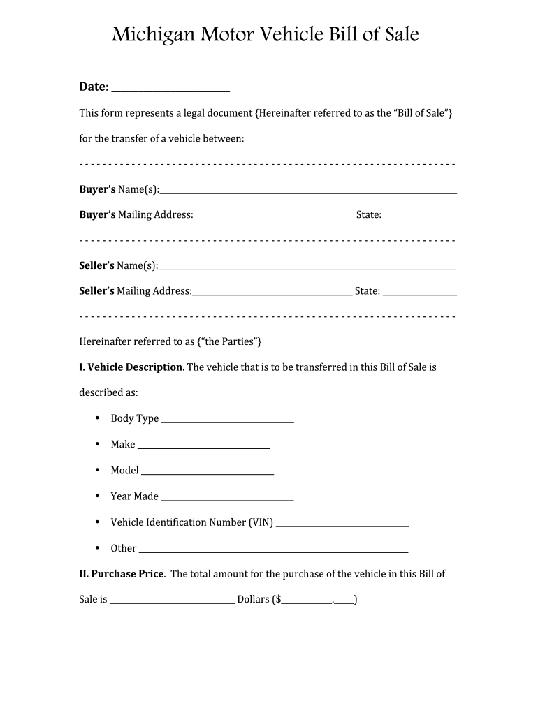 Bill Of Sale Michigan - Fill Out And Sign Printable Pdf Template | Signnow