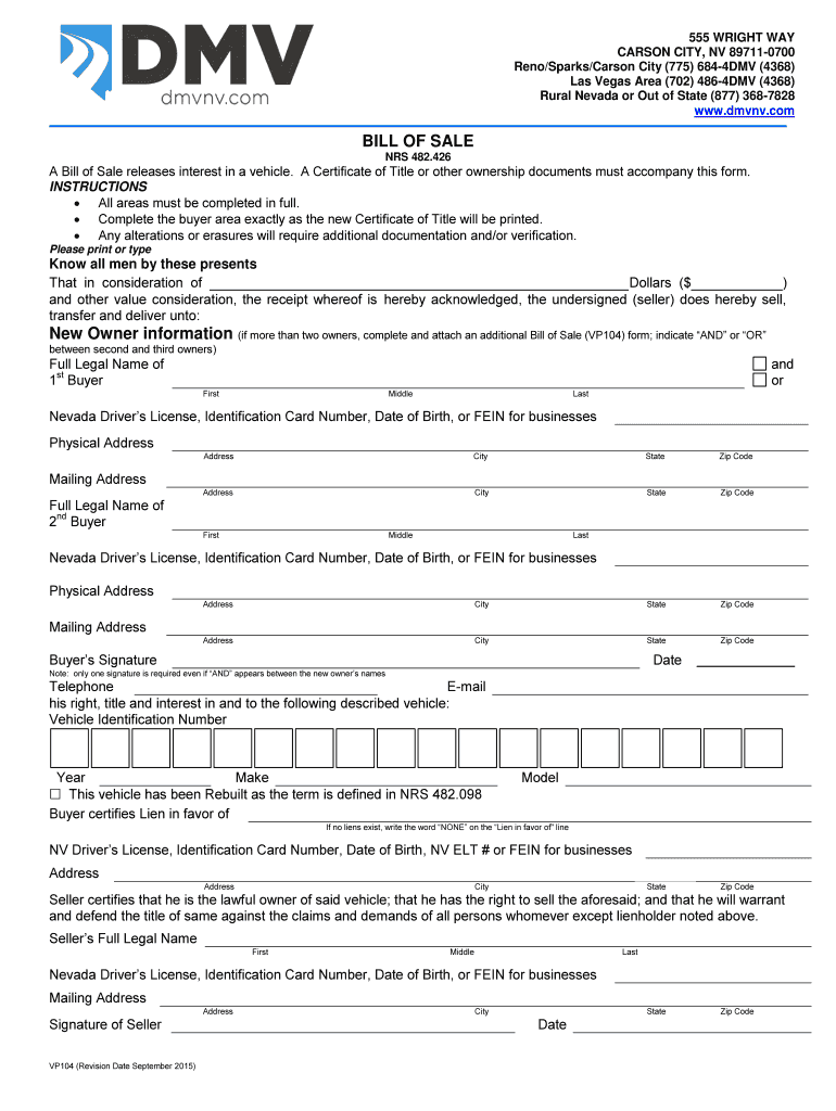 Bill Of Sale Nevada - Fill Out And Sign Printable Pdf Template | Signnow