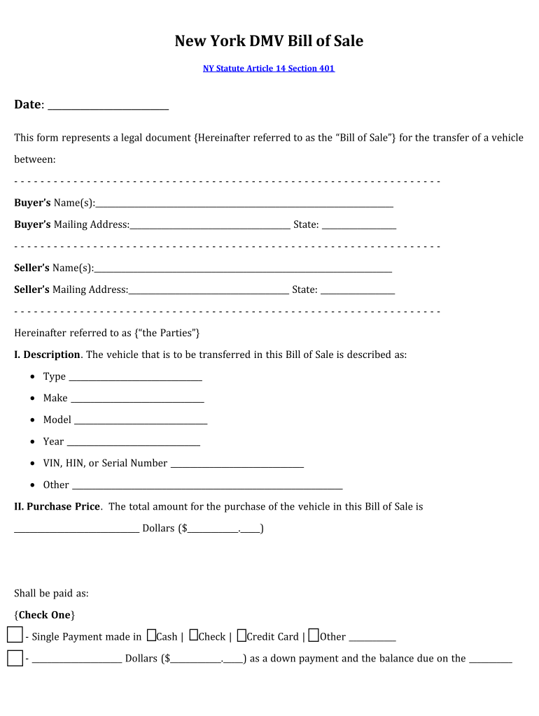 Bill Of Sale Ny - Fill Out And Sign Printable Pdf Template   Signnow
