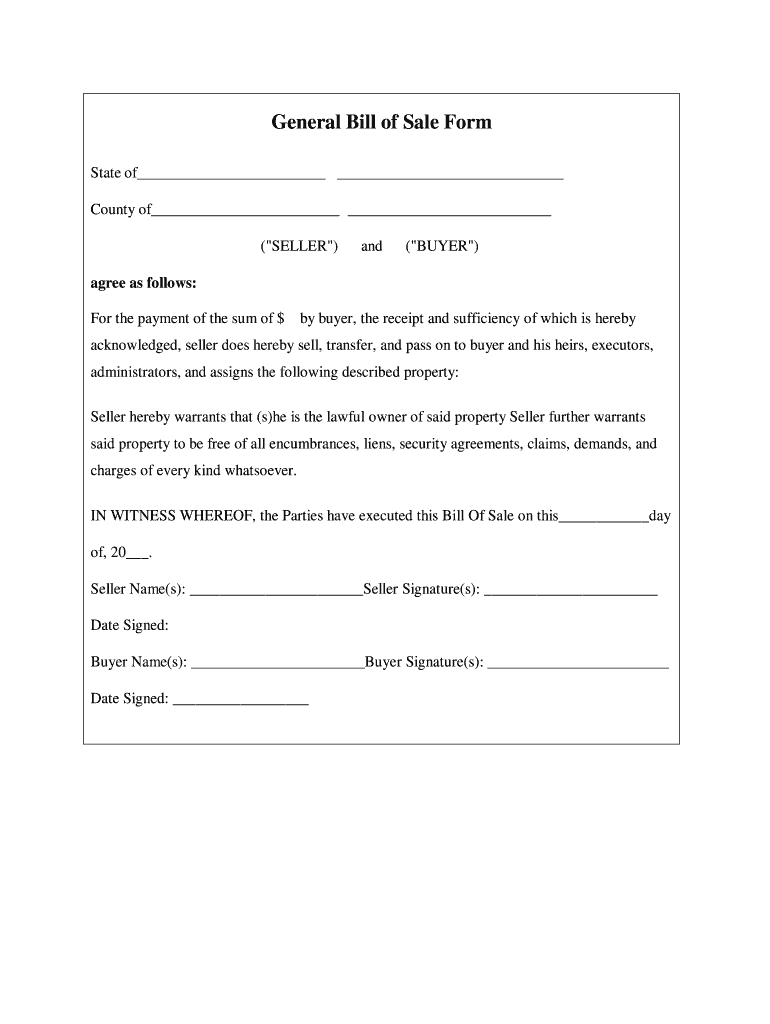 Bill Of Sale Pdf - Fill Out And Sign Printable Pdf Template | Signnow
