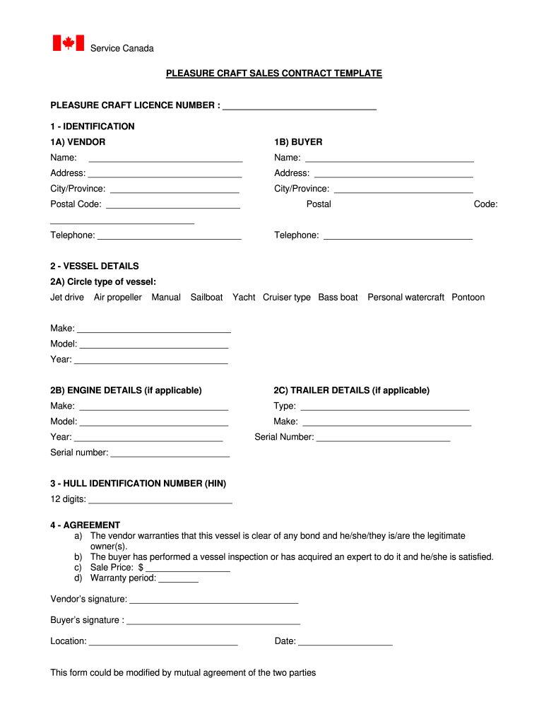 Bill Of Sale Template Canada - Fill Out And Sign Printable Pdf Template |  Signnow