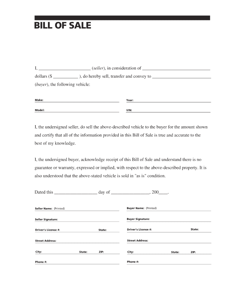 Bill Of Sale Template - Fill Out And Sign Printable Pdf Template   Signnow