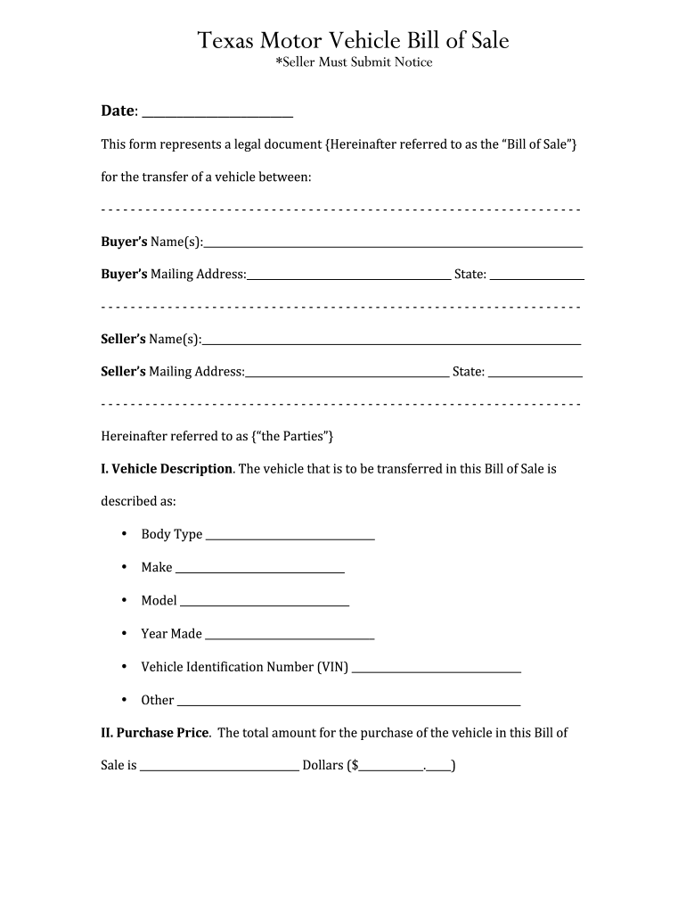 Bill Of Sale Texas - Fill Online, Printable, Fillable, Blank