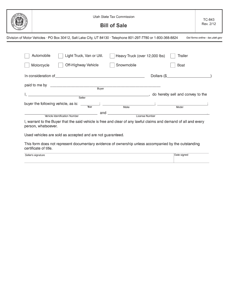 Bill Of Sale Utah - Fill Out And Sign Printable Pdf Template | Signnow