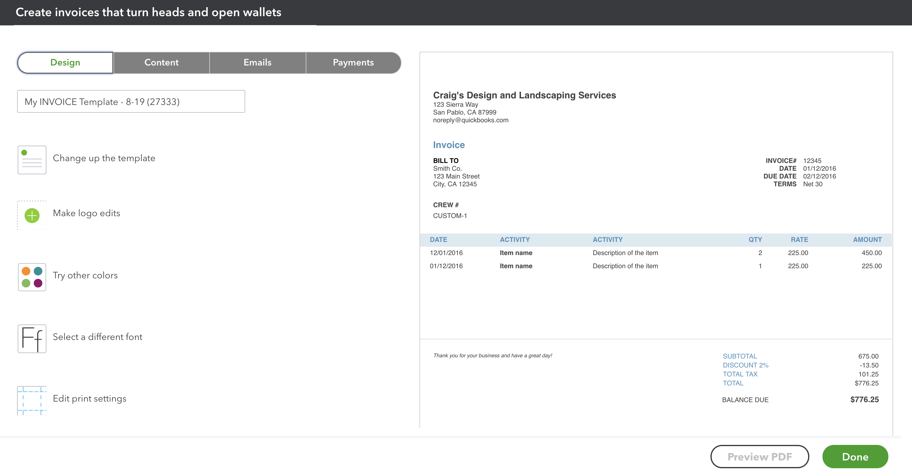 Customize Invoices, Estimates, And Sales Receipts