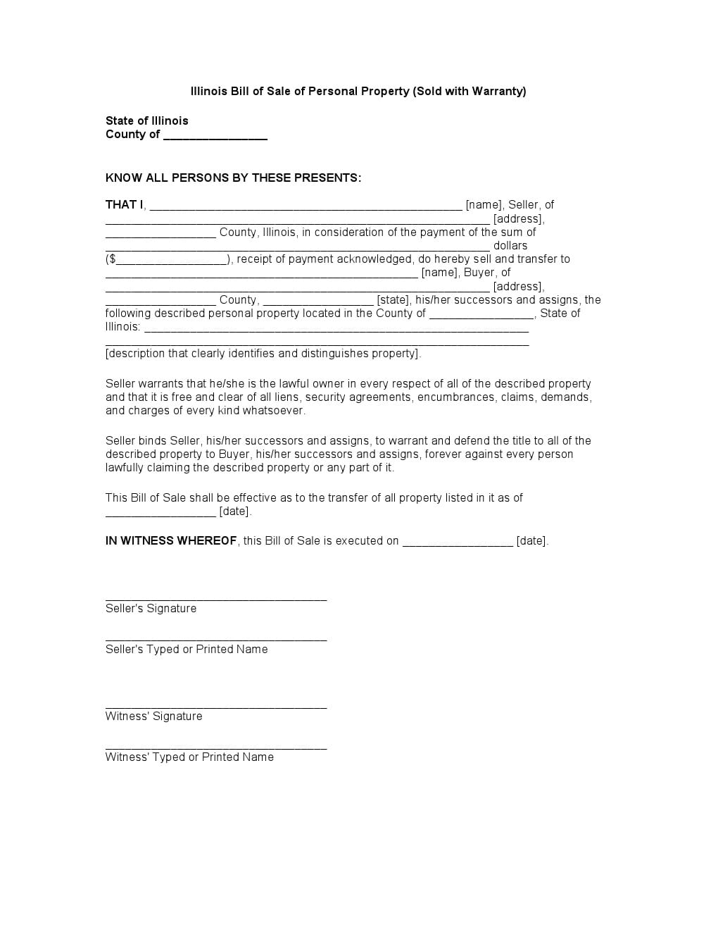 Download Free Illinois Bill Of Sale Of Personal Property