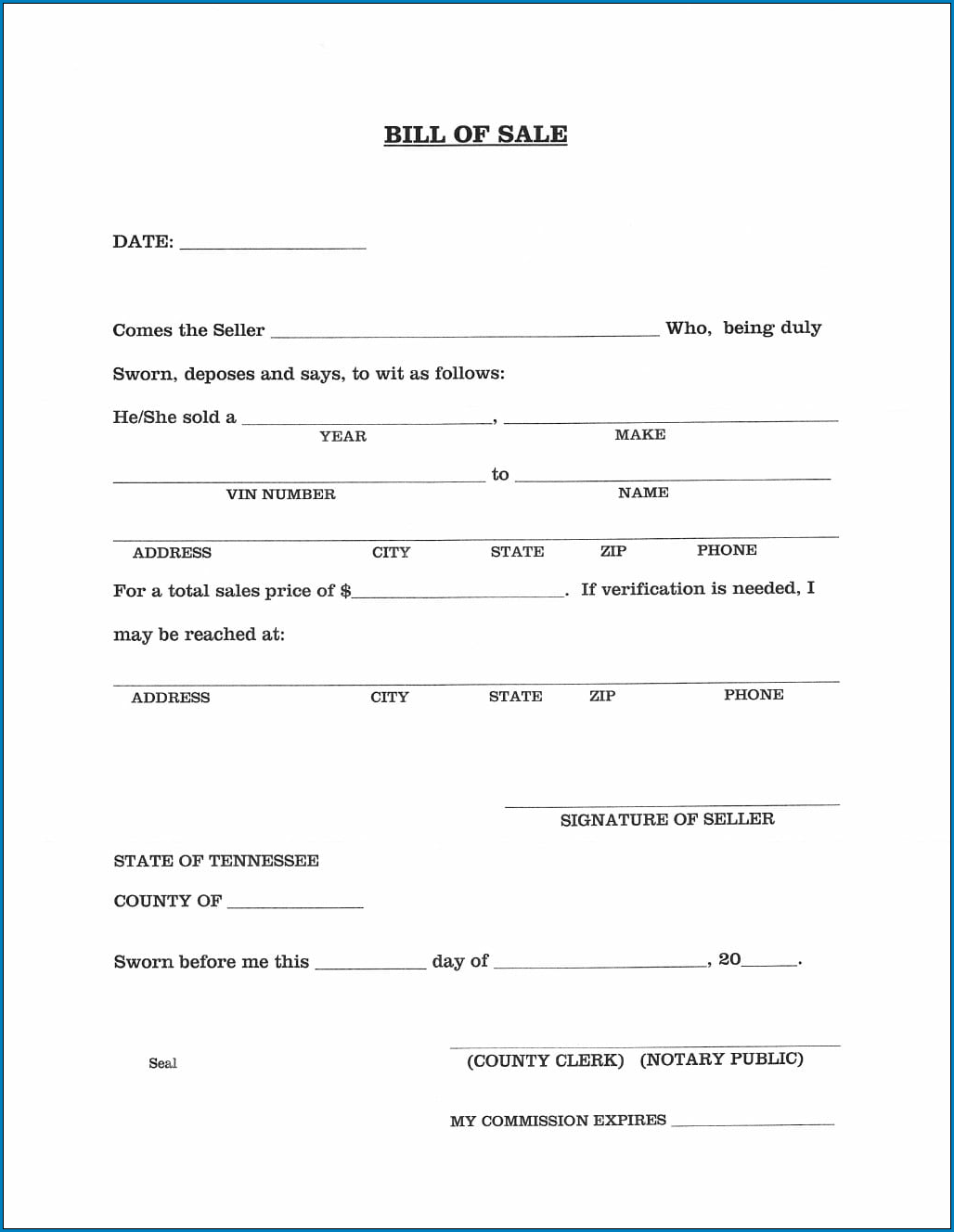 √ Free Printable Automobile Bill Of Sale Template | Templateral