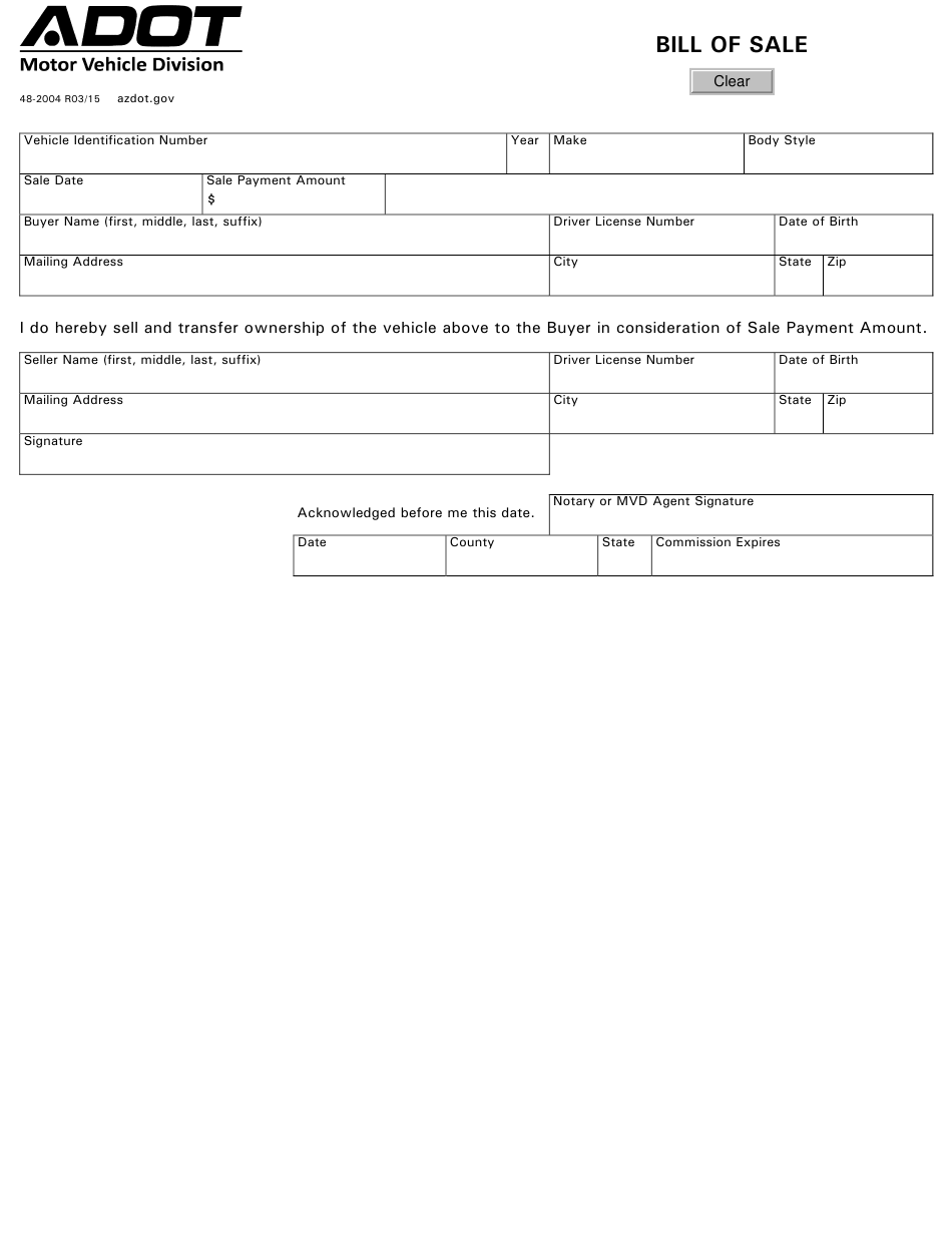 Form 48-2004 Download Fillable Pdf Or Fill Online Vehicle