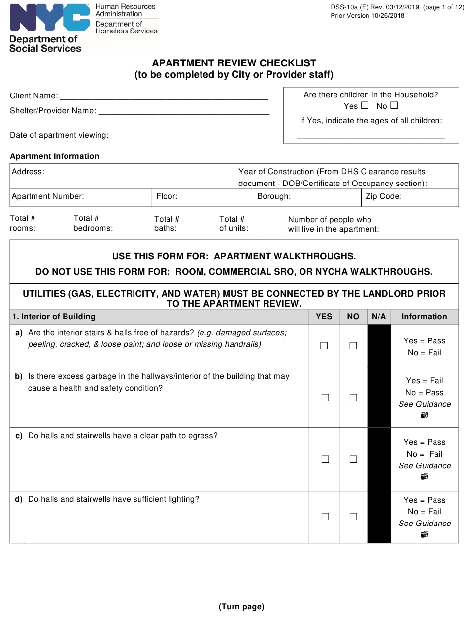 Form Dss-10A Download Printable Pdf Or Fill Online Apartment