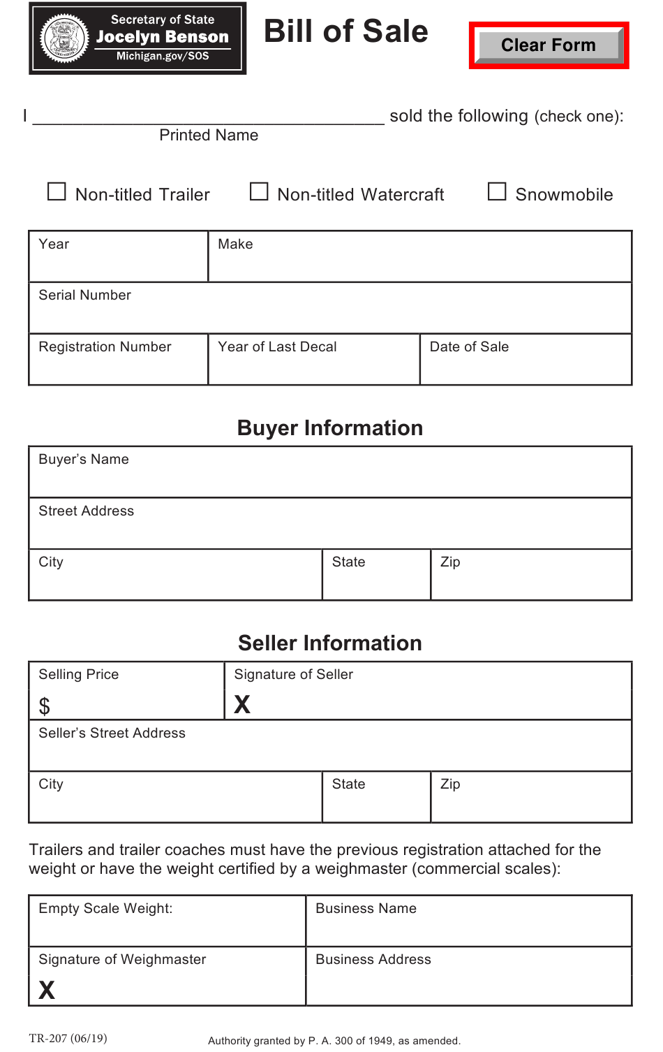Form Tr-207 Download Printable Pdf Or Fill Online Bill Of