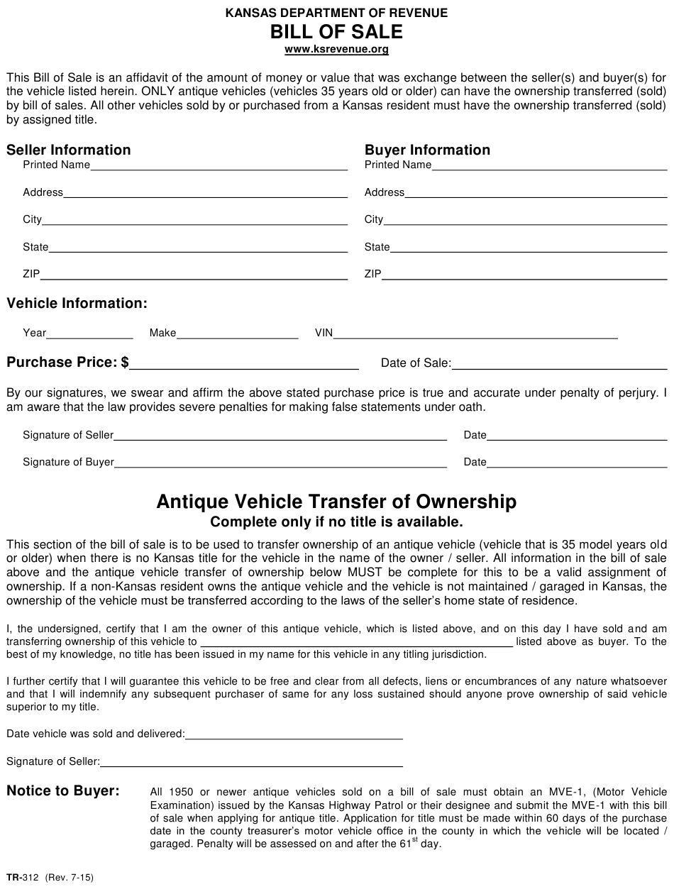 Form Tr-312 Download Fillable Pdf Or Fill Online Vehicle