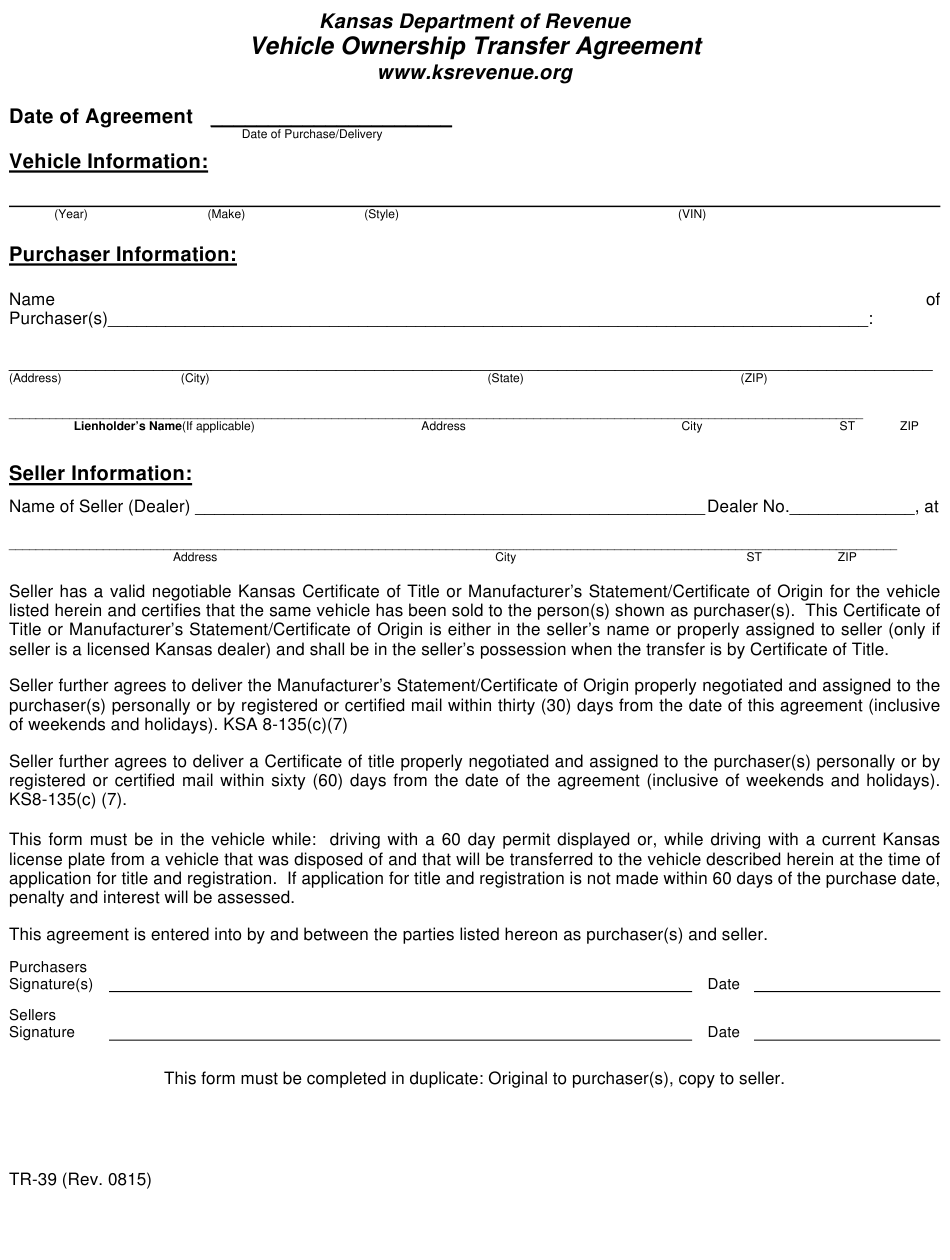 Form Tr-39 Download Fillable Pdf Or Fill Online Vehicle