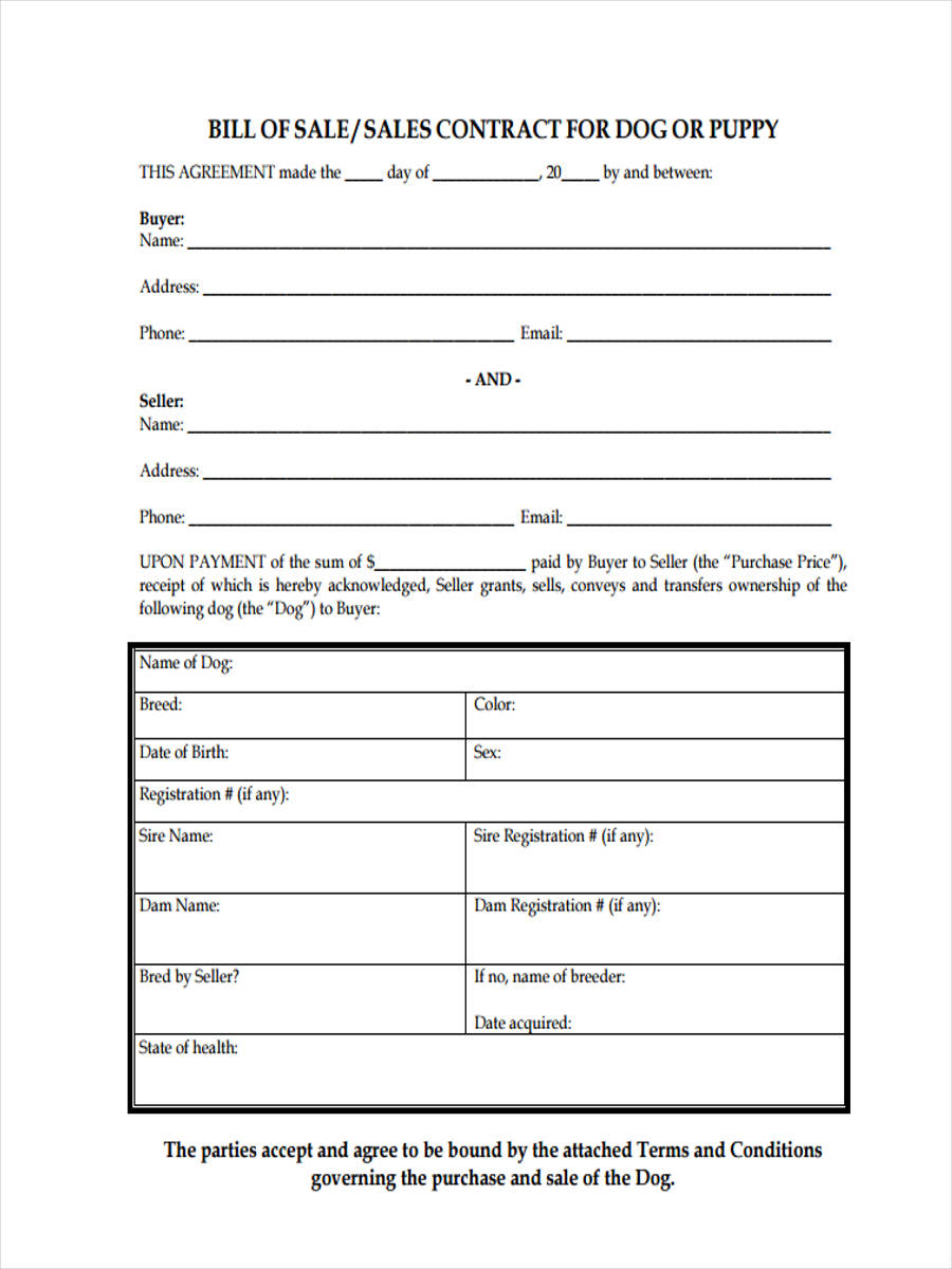 Free 5+ Sample Dog Bill Of Sale Forms In Pdf