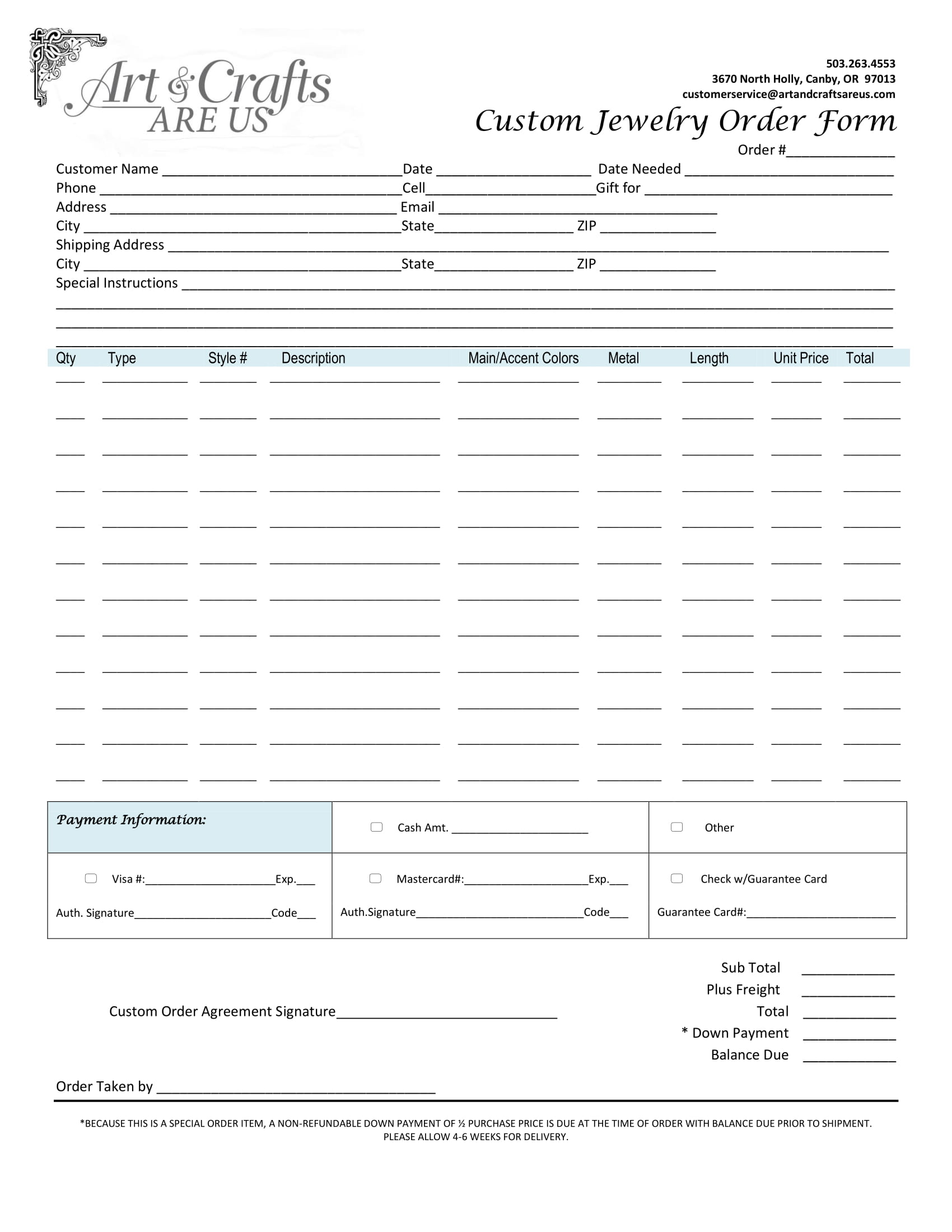 Free 6+ Jewelry Order Forms In Pdf | Ms Word | Excel
