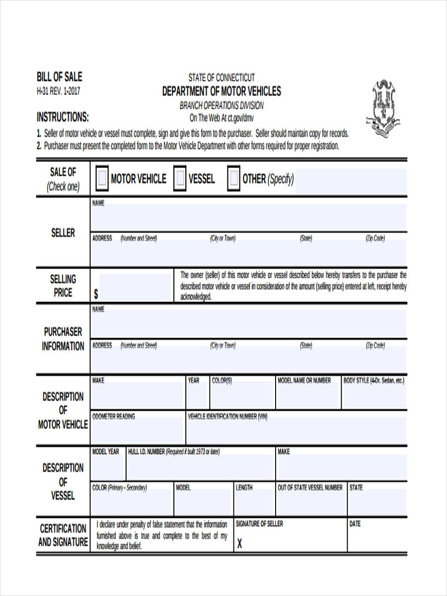 Free 7+ Sample Business Bill Of Sale Forms In Pdf