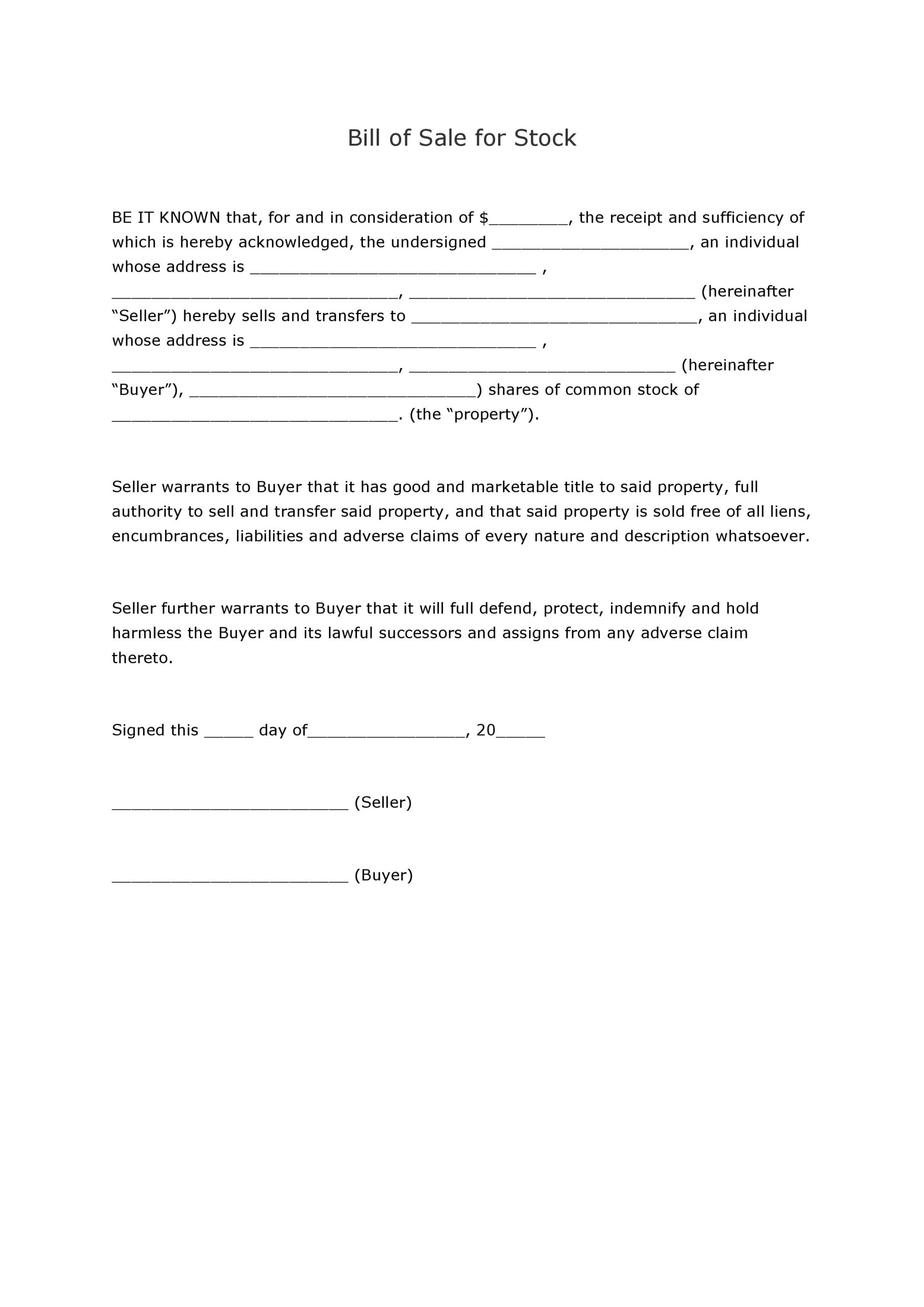 Free Bill Of Sale For Stock | Pdf | Docx
