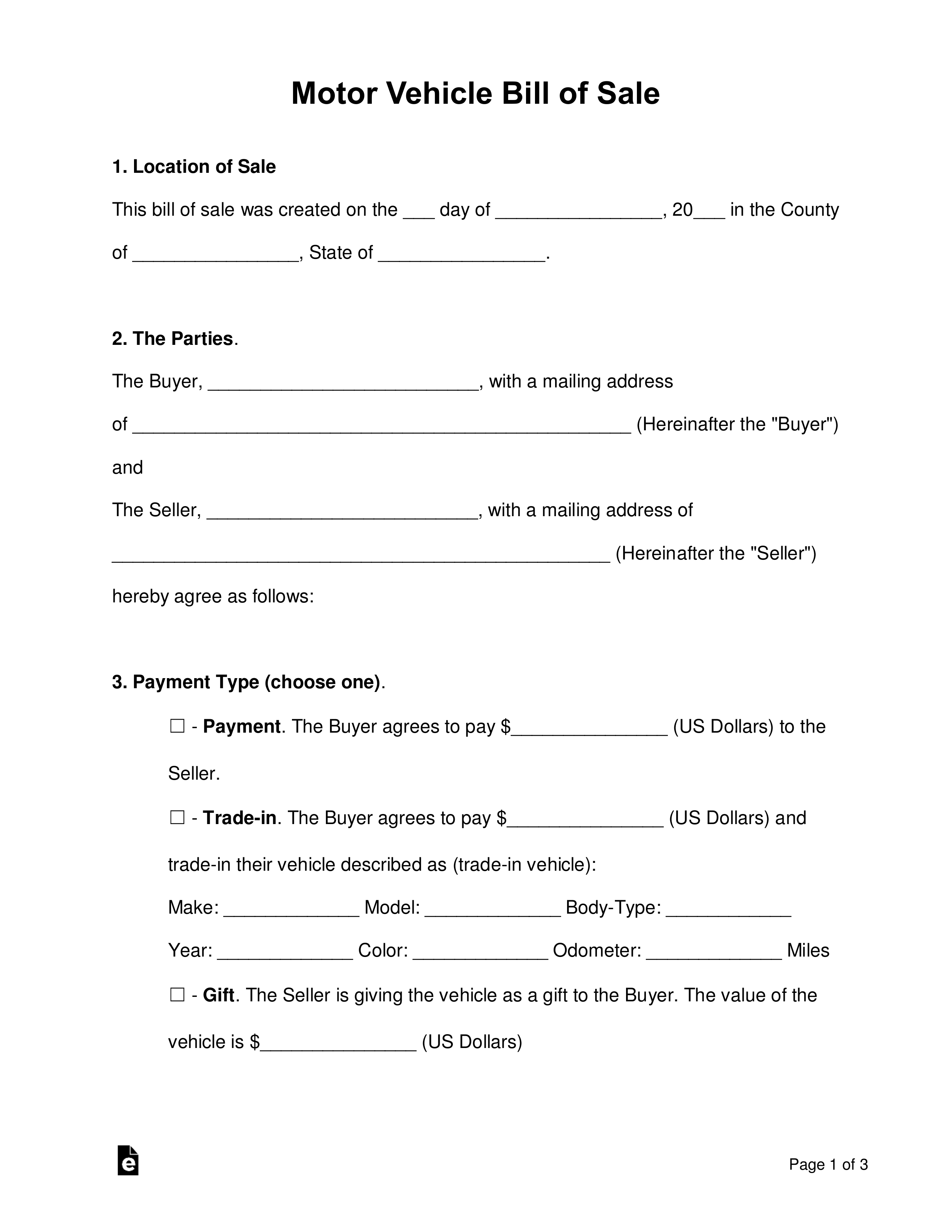 Free Bill Of Sale Forms - Pdf   Word   Eforms – Free