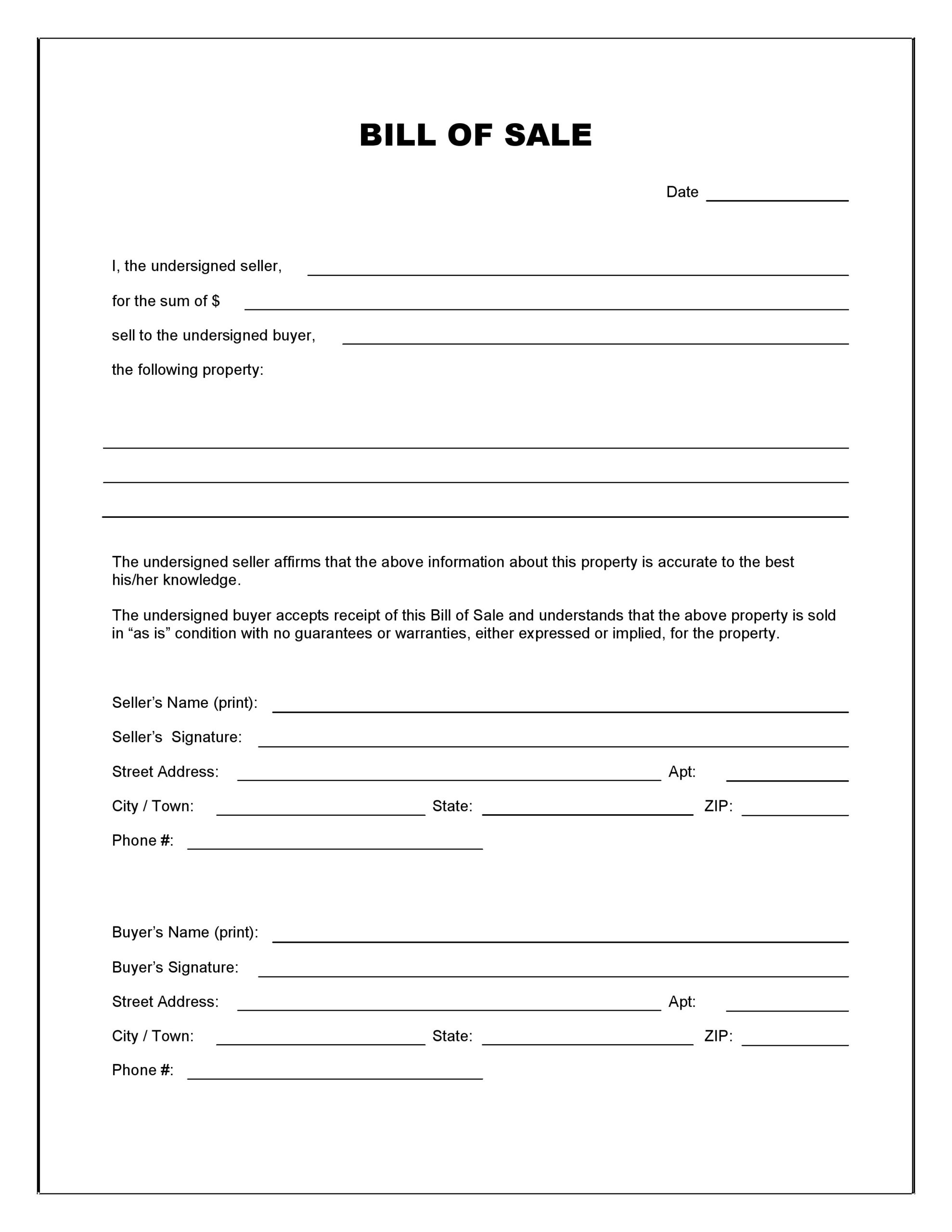 Free Blank Bill Of Sale Form   Pdf   Word   Do It Yourself Forms