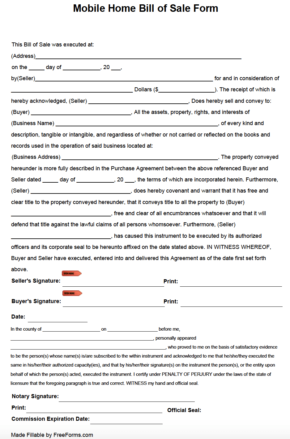 Free Business Bill Of Sale Form (Purchase Agreement) | Pdf