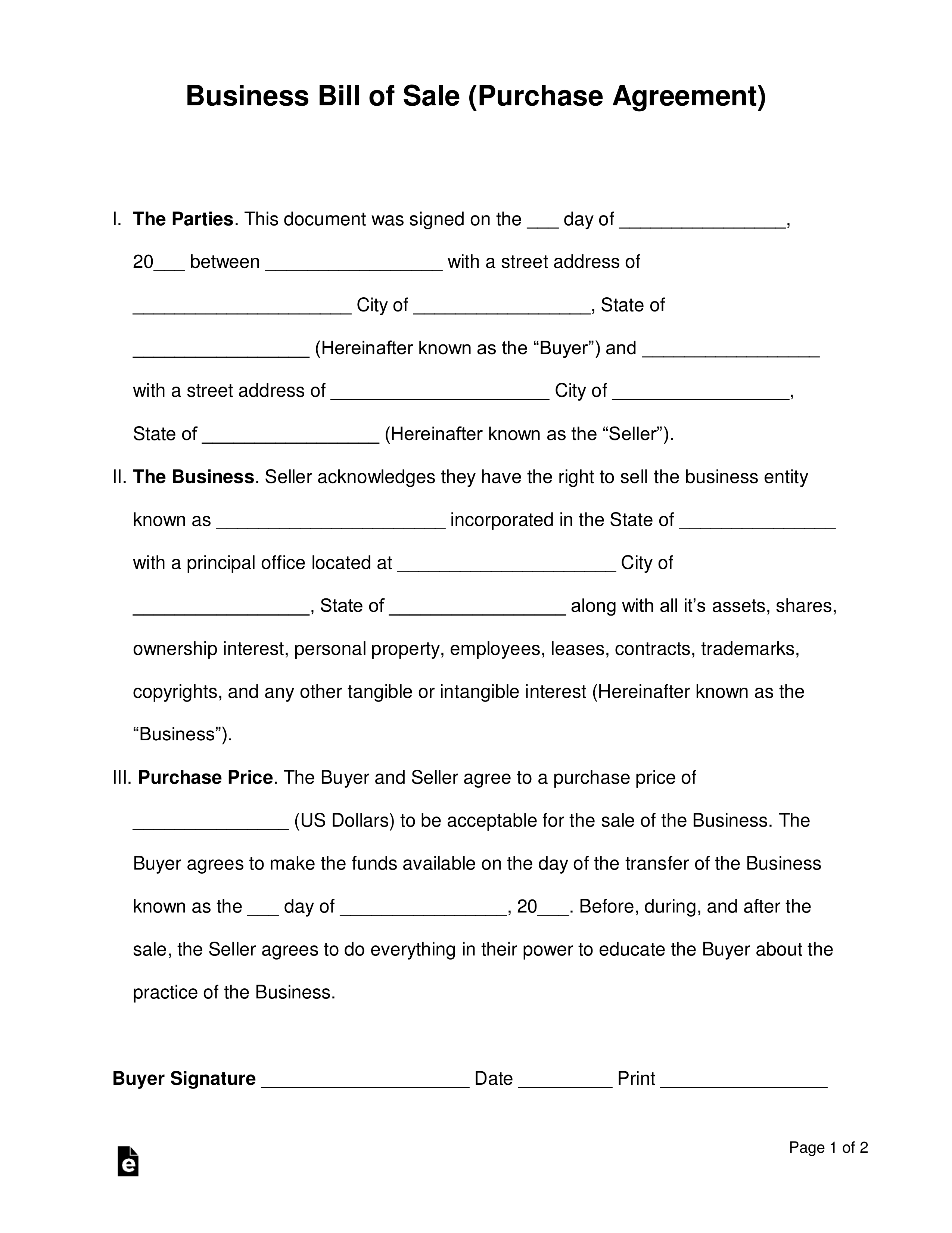 Free Business Bill Of Sale Form (Purchase Agreement) - Word