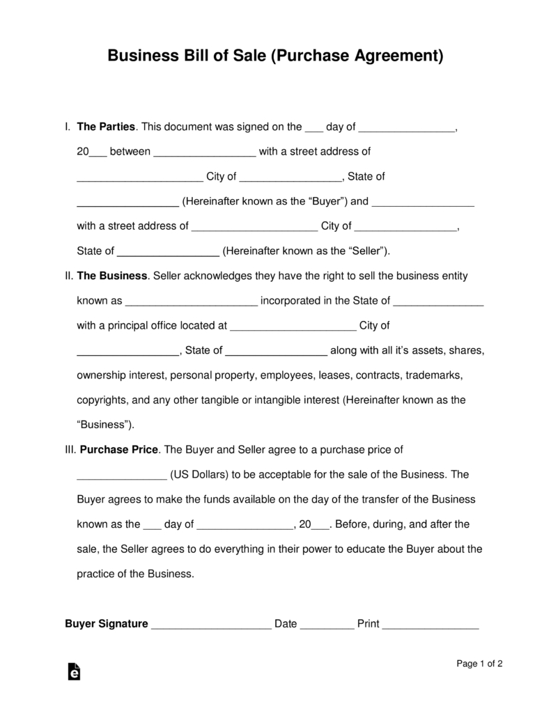 Free Business Bill Of Sale Form Purchase Agreement Word Pdf