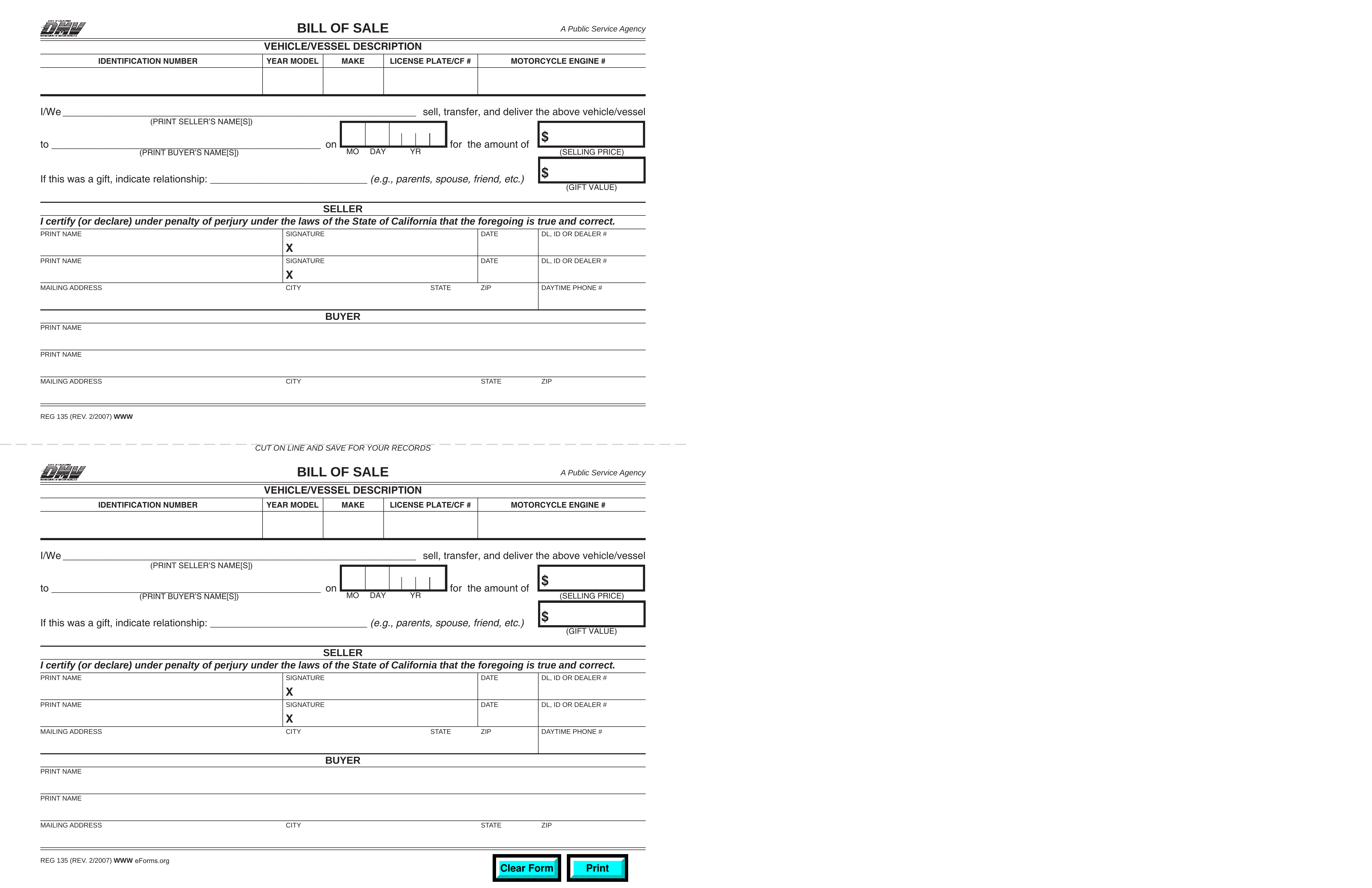 Free California Bill Of Sale Forms - Pdf | Eforms – Free