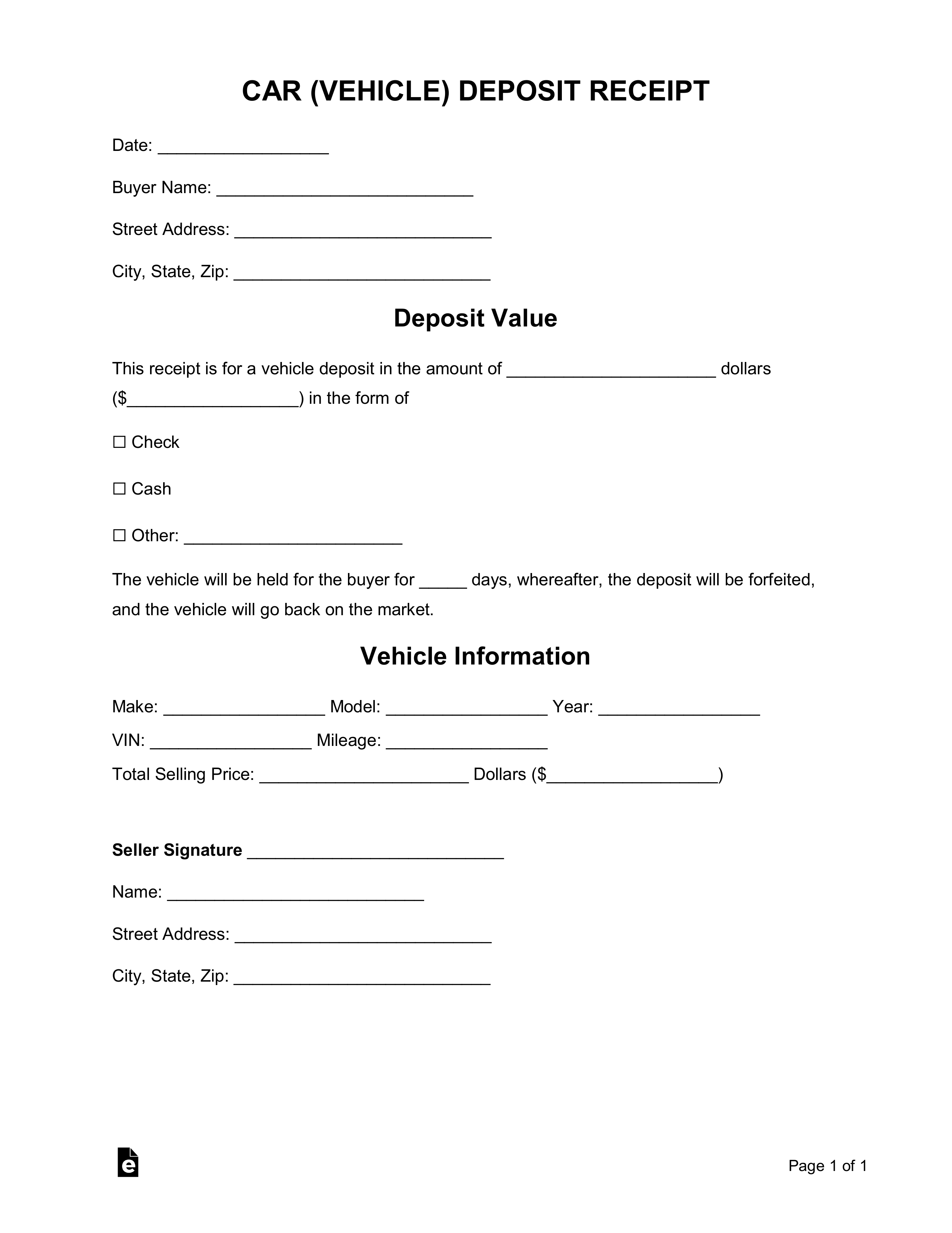 Free Car (Vehicle) Purchase Deposit Receipt Template - Word