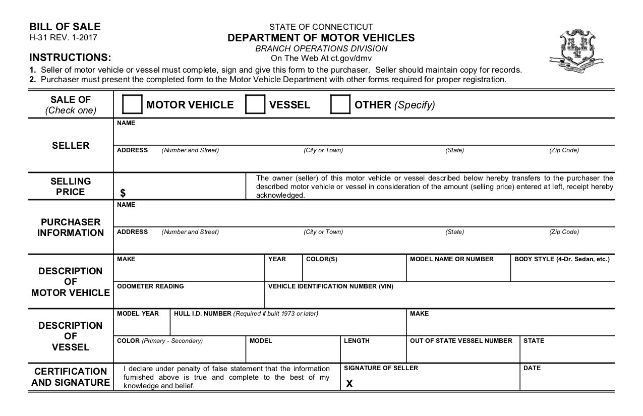 Free Connecticut Bill Of Sale Form - Pdf Template