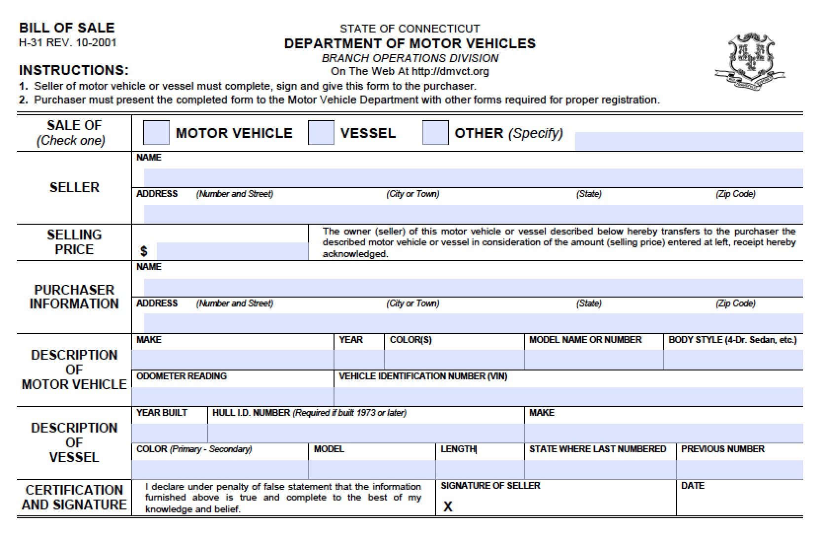 Free Connecticut Dmv (Vehicle/boat) Bill Of Sale (H-31) Form