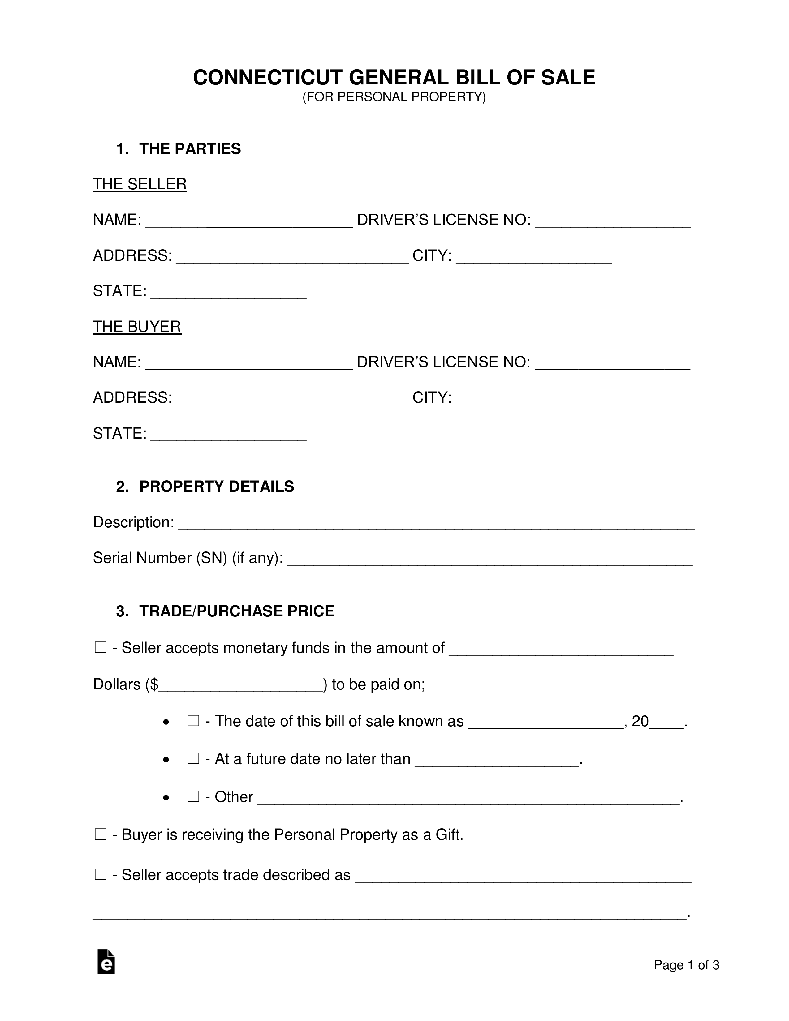 Free Connecticut General Bill Of Sale Form - Word   Pdf
