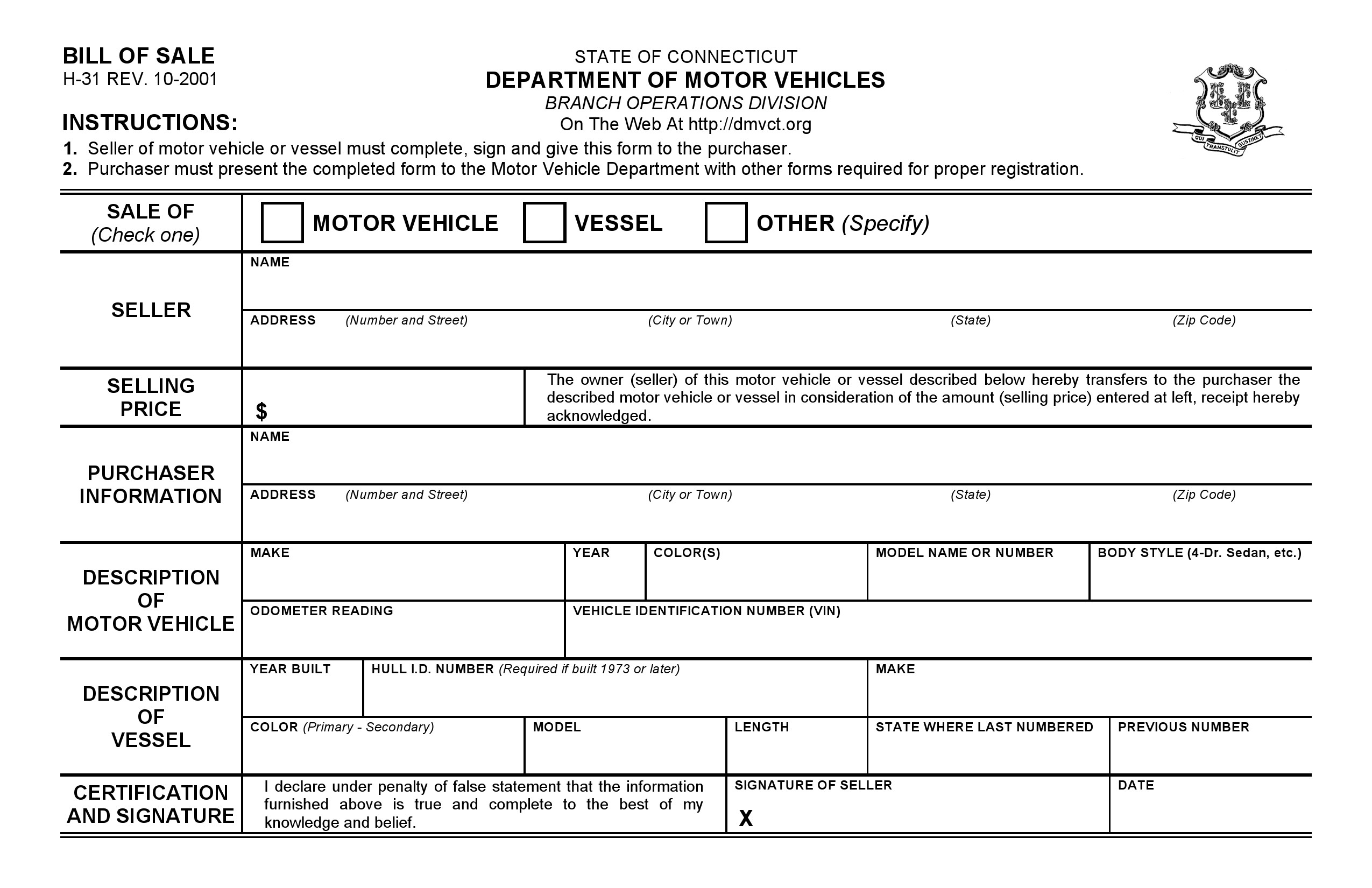 Free Connecticut Vehicle Bill Of Sale Form | Pdf | Word | Do