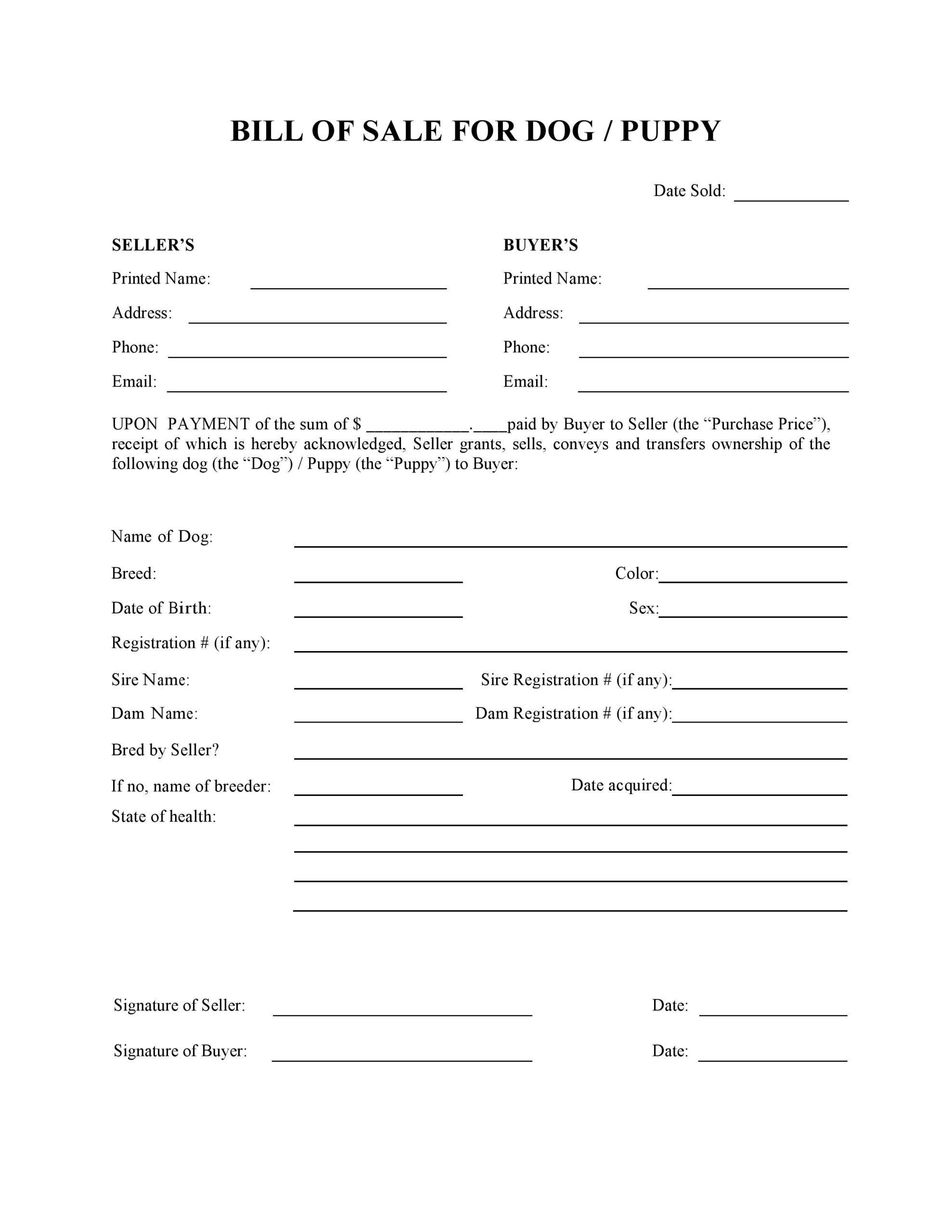 Free Dog Or Puppy Bill Of Sale Form | Pdf | Word | Do It Yourself Forms