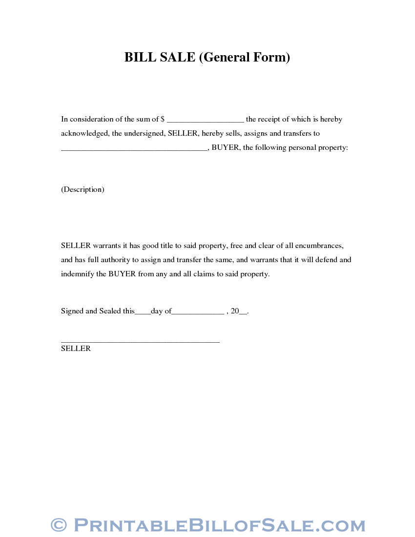 Free General Bill Of Sale Form | Download Pdf | Word Template
