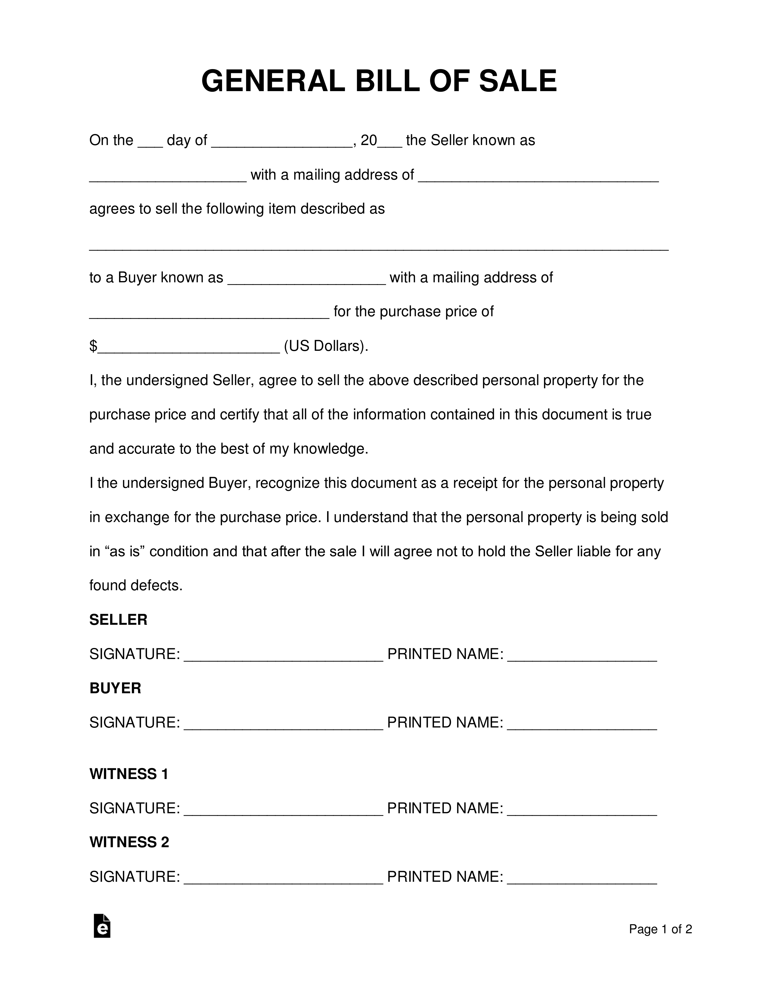Free General (Personal Property) Bill Of Sale Form - Word