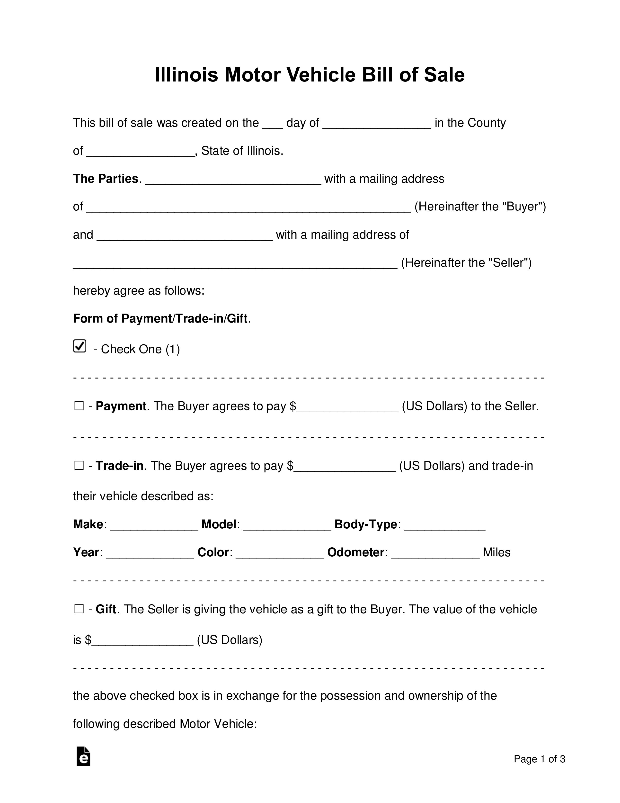 Free Illinois Bill Of Sale Forms - Word   Pdf   Eforms