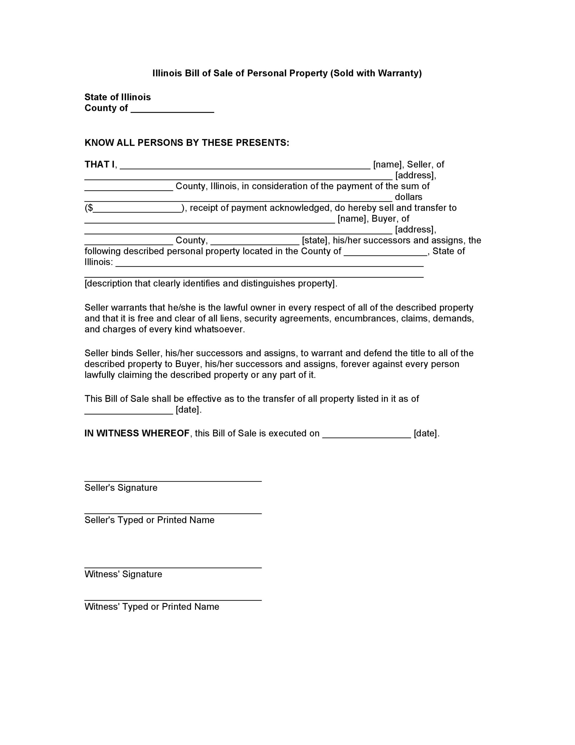 Free Illinois Bill Of Sale Of Personal Property   Pdf   Word